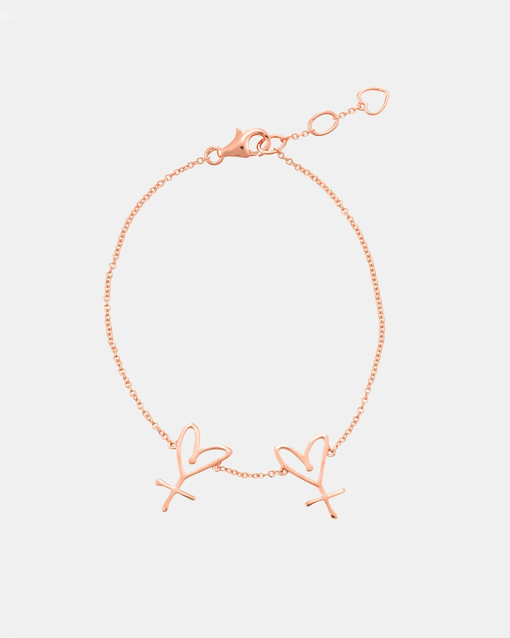Secret Sisterhood Large Twin Hearts Bracelet Jewellery Rose Gold
