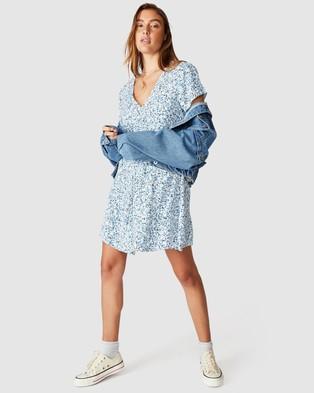 Cotton On Woven Marissa Gathered Front Mini Dress - Dresses (Bronte Ditsy Parisian Blue)