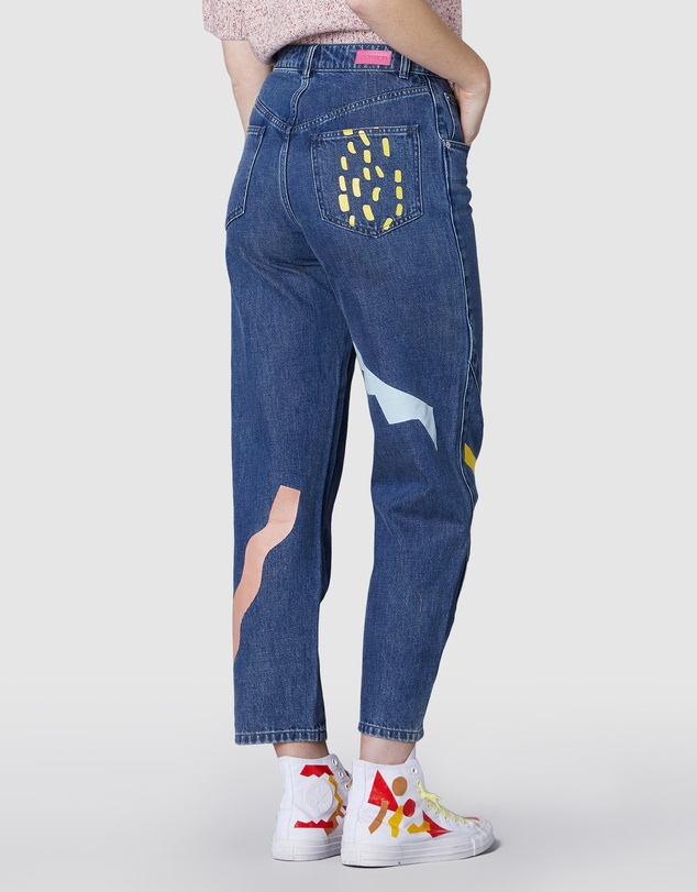 Women Cut & Paste Jeans