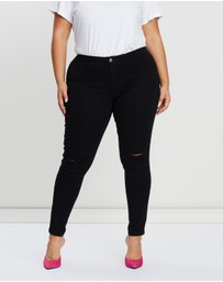 Missguided Curve - Vice High-Waisted Slashed Knee Jeans