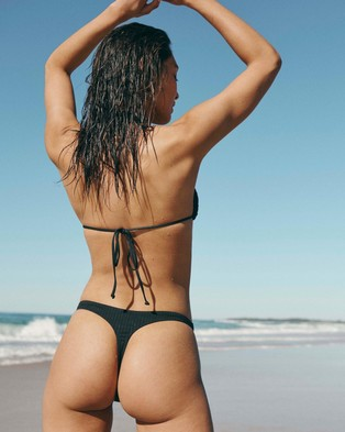 Cotton On Body High Side Thong - Bikini Bottoms (Black Rib 21)