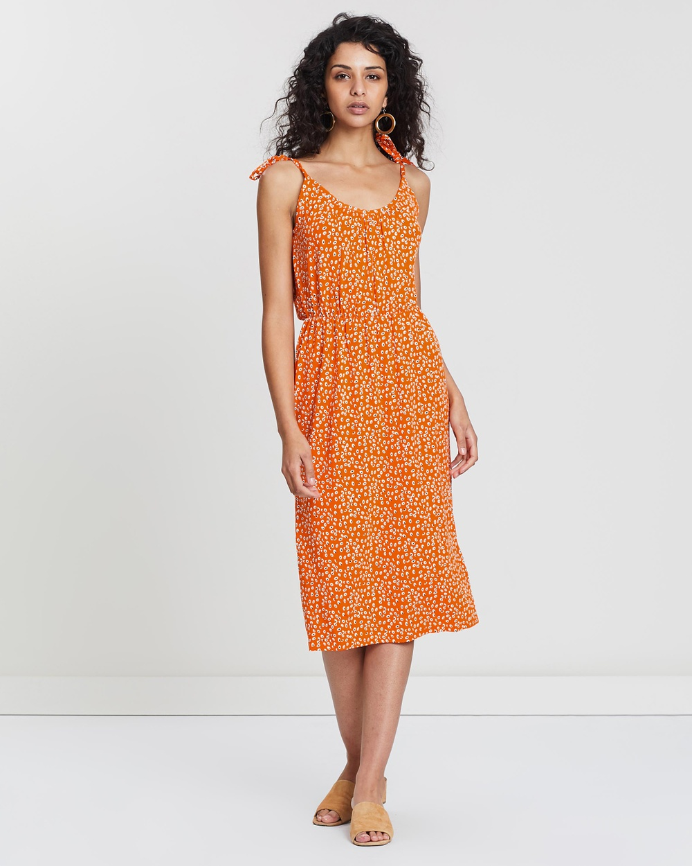 Warehouse Orange Tie Shoulder Dotty Seed Cami Midi Dress