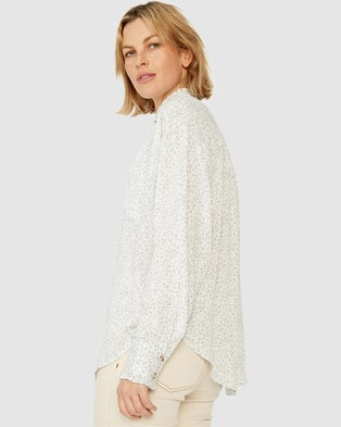 Ceres Life Classic Frill Shirt - Tops (White Ditsy)