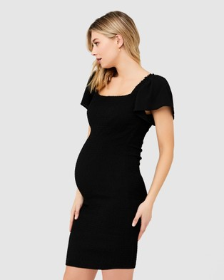 Ripe Maternity Vivian Shirred Dress - Dresses (Black)