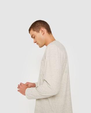 Jag - Cotton Stripe Long Sleeve Tee - T-Shirts & Singlets (Ink Ivory) Cotton Stripe Long Sleeve Tee