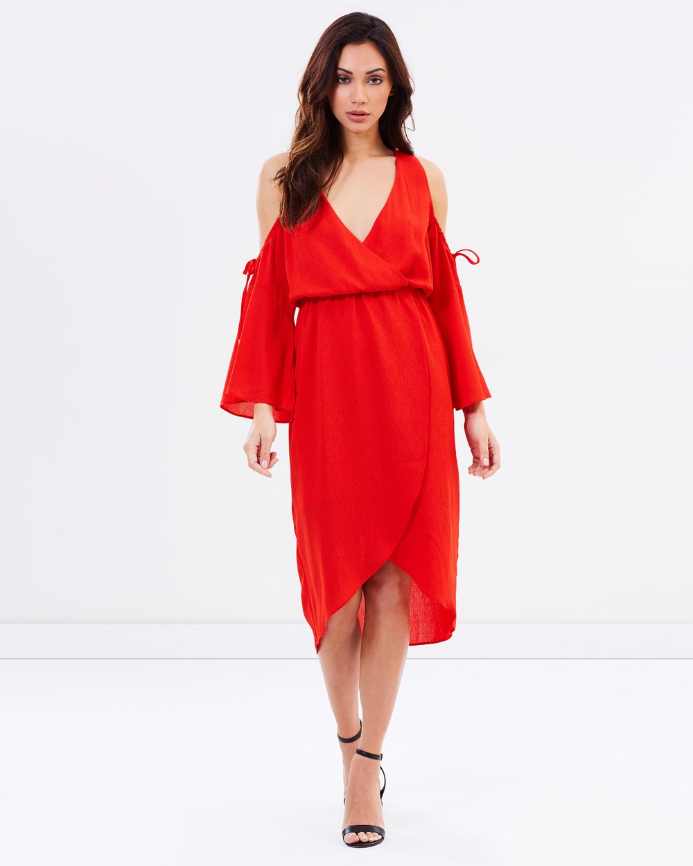 Photo of Atmos & Here Red ICONIC EXCLUSIVE - Vanity Cold Shoulder Wrap Dress - beautiful dress from Atmos & Here online