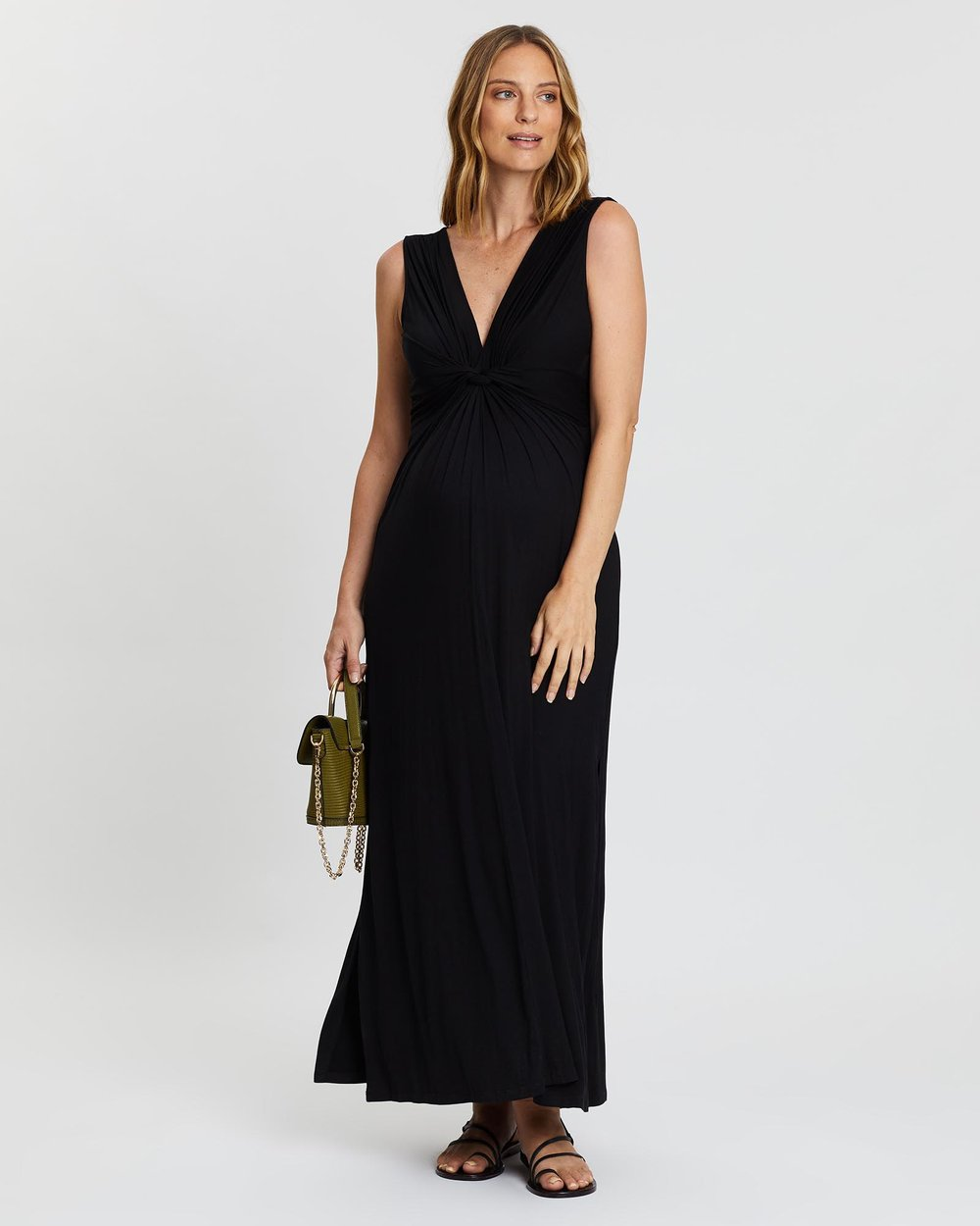 Maxi Knot Front Maternity Dress By Angel Maternity Online Gov Australia