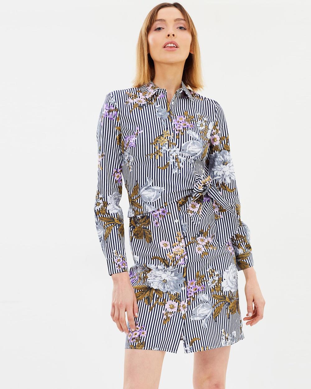 Warehouse Molly Floral Cotton Shirt Dress Printed Dresses Blue Molly Floral Cotton Shirt Dress
