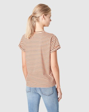 French Connection Boyfriend Organic Crew T Shirt - T-Shirts & Singlets (TERRACOTTA/NAVY/WHIT)