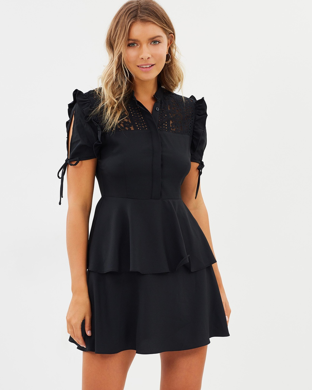Atmos & Here ICONIC EXCLUSIVE Nayeli Frill Mini Dress Dresses Black ICONIC EXCLUSIVE Nayeli Frill Mini Dress