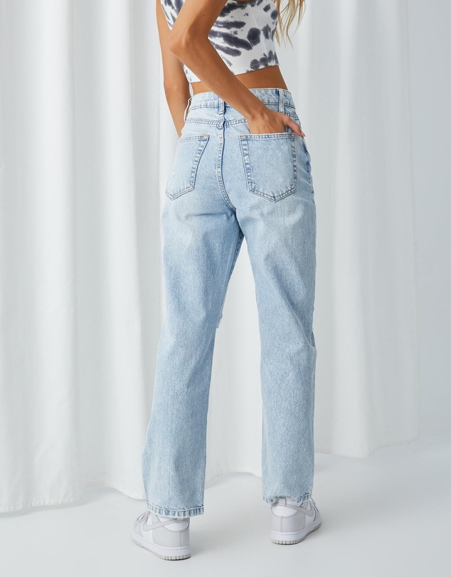 Women High Rise Straight Ripped Jeans