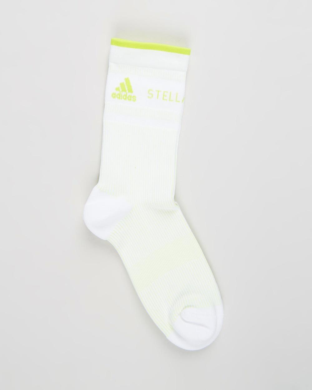 adidas by Stella McCartney ASMC Crew Socks White & Neon Yellow