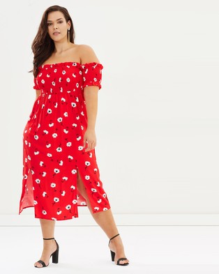 Atmos & Here Curvy – Pearl Smocked Midi Dress – Printed Dresses Red Daisy