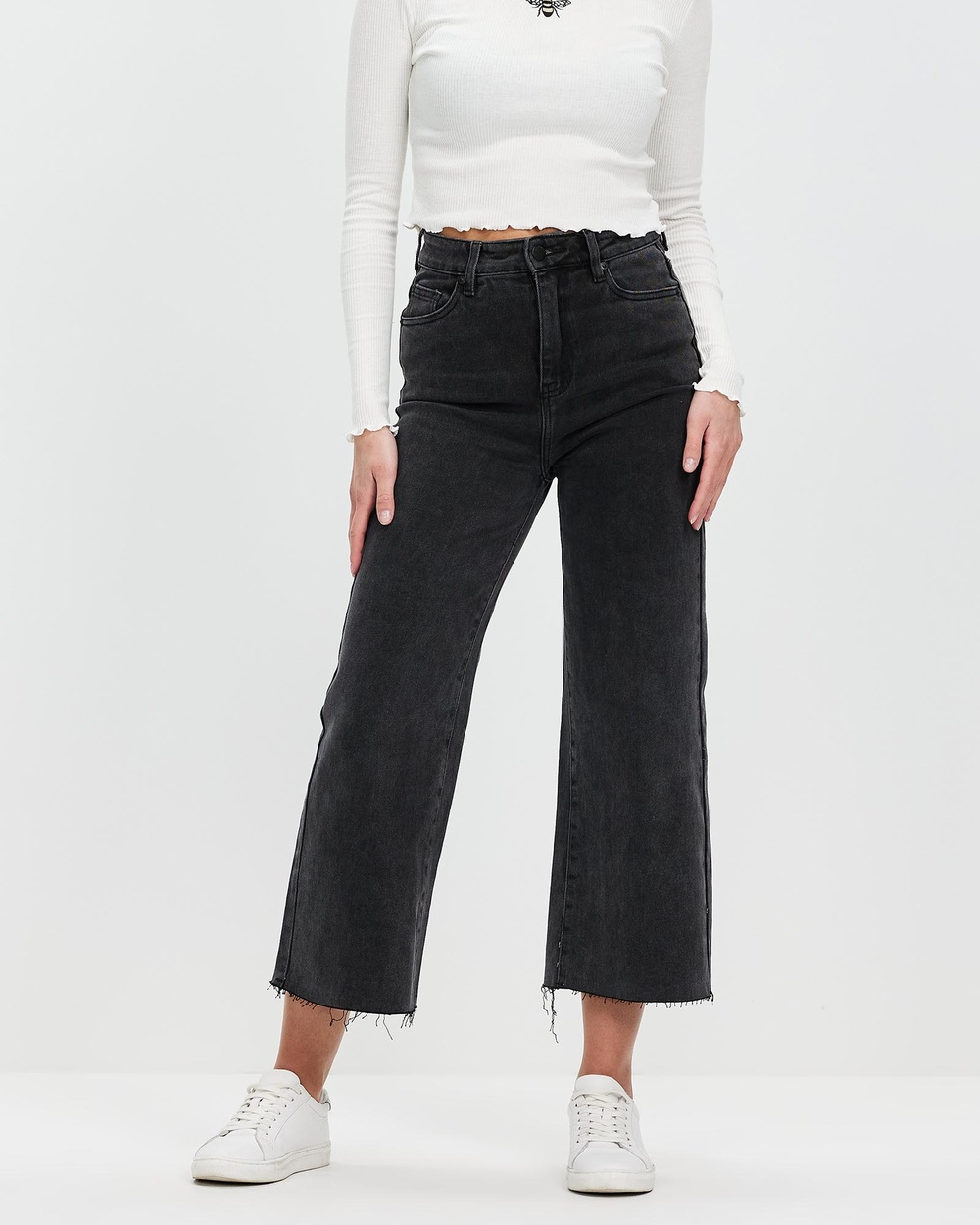 All About Eve Charlie High Rise Wide Leg Jeans Crop Faded Black