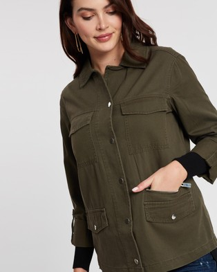 Dorothy Perkins Zip Detail Shacket - Coats & Jackets (Khaki)
