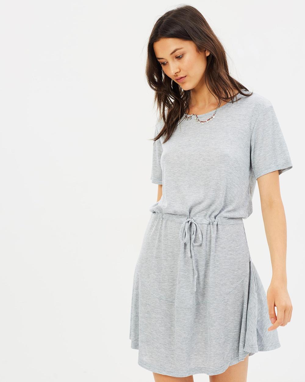 MINKPINK So Simple Drawstring Dress Dresses Grey Marle So Simple Drawstring Dress