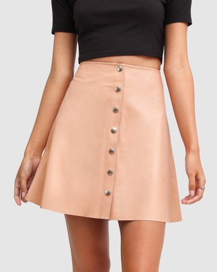 Belle & Bloom Into The Woods Leather Mini Skirt Skirts Pink