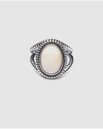 Nialaya Jewellery - Men's Ring with Mother of Pearl Stone