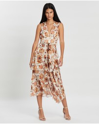 Shona Joy - Baez Plunged Tiered Midi Dress with Sash