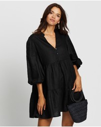AERE - Balloon Sleeve Smock Dress