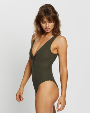 JETS Conspire Plunge One Piece - One-Piece / Swimsuit (Khaki)