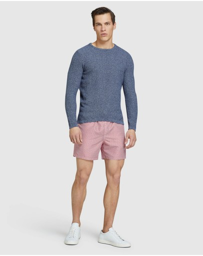 Oxford Billie Textured Crew Neck Knit Blue