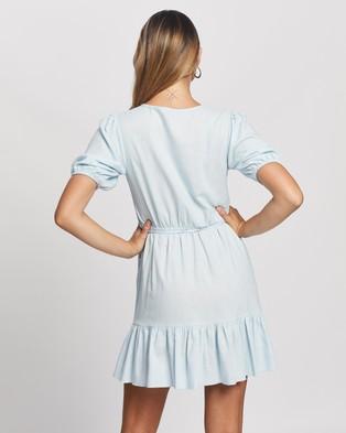 Atmos&Here Zamira Linen Blend Mini Dress - Dresses (Pastel Blue)