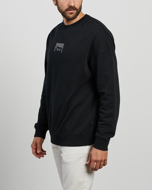 Afends - Recycle Or Die Oversized Crew Neck Sweats (Black)