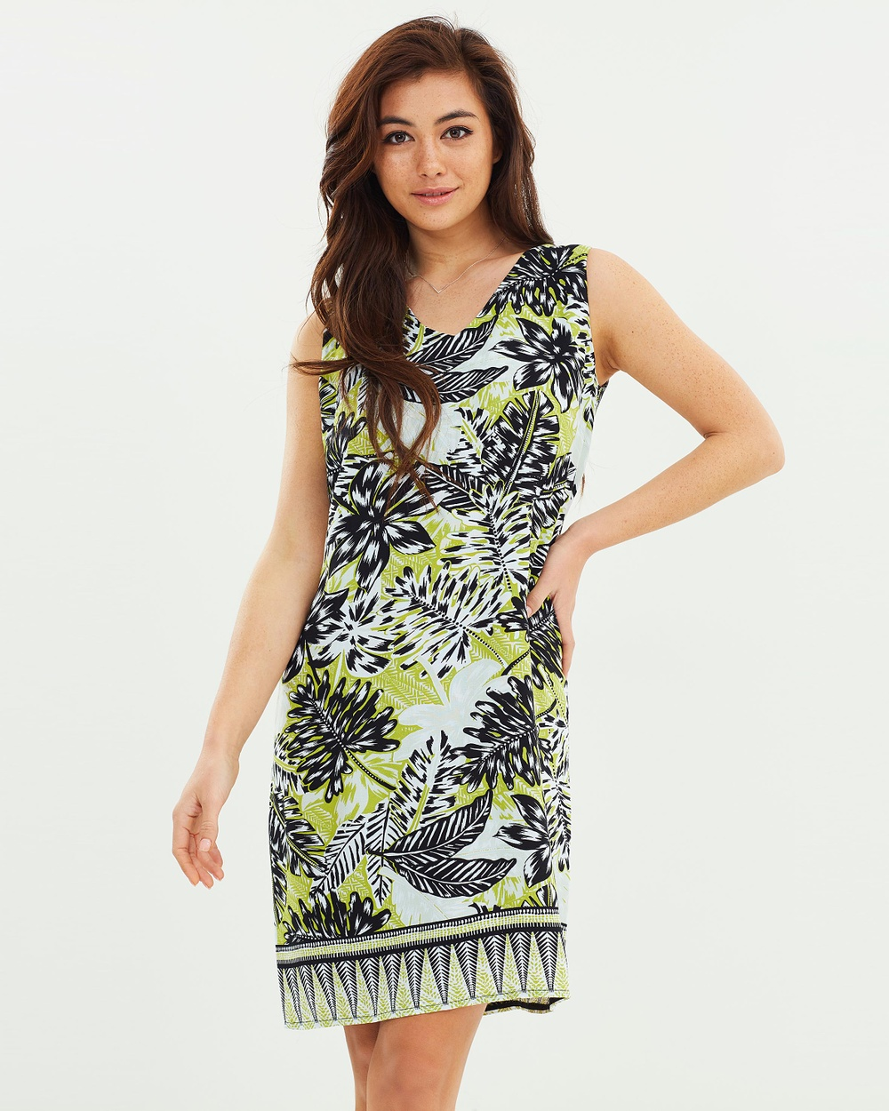 Wallis Border Palm Zip Back Pinny Dress Printed Dresses Green Border Palm Zip Back Pinny Dress