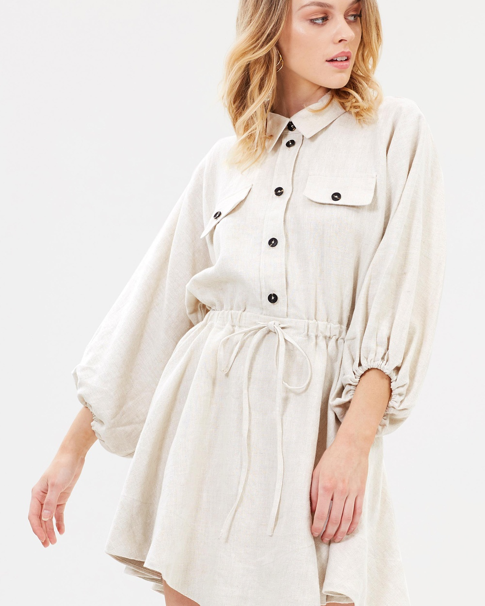 Shona Joy Linen Balloon Sleeve Shirt Mini Dress Dresses Natural Linen Balloon Sleeve Shirt Mini Dress
