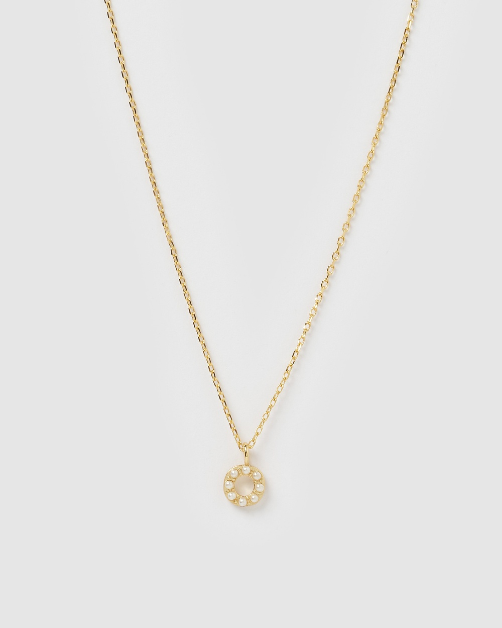 Izoa Pearl Letter O Necklace Gold Jewellery Gold