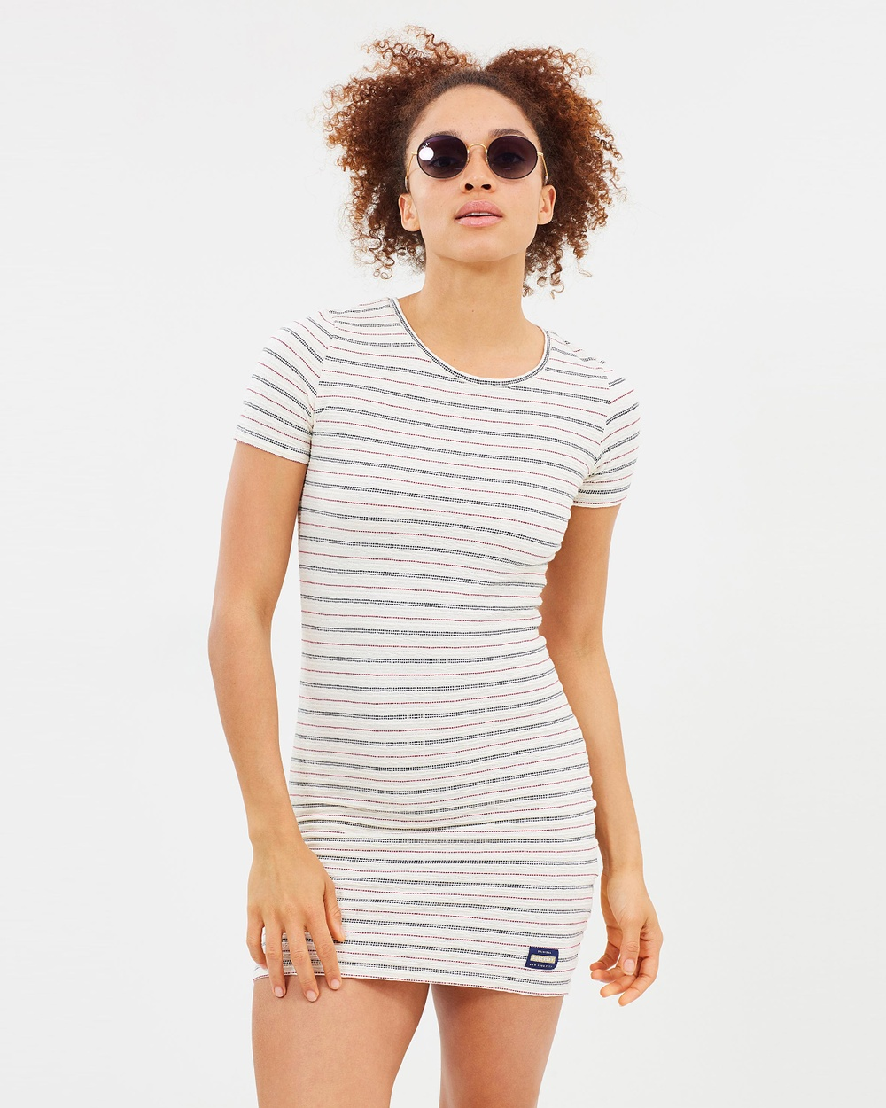 Superdry Textured Pacific Tee Dress Bodycon Dresses Cream Textured Pacific Tee Dress