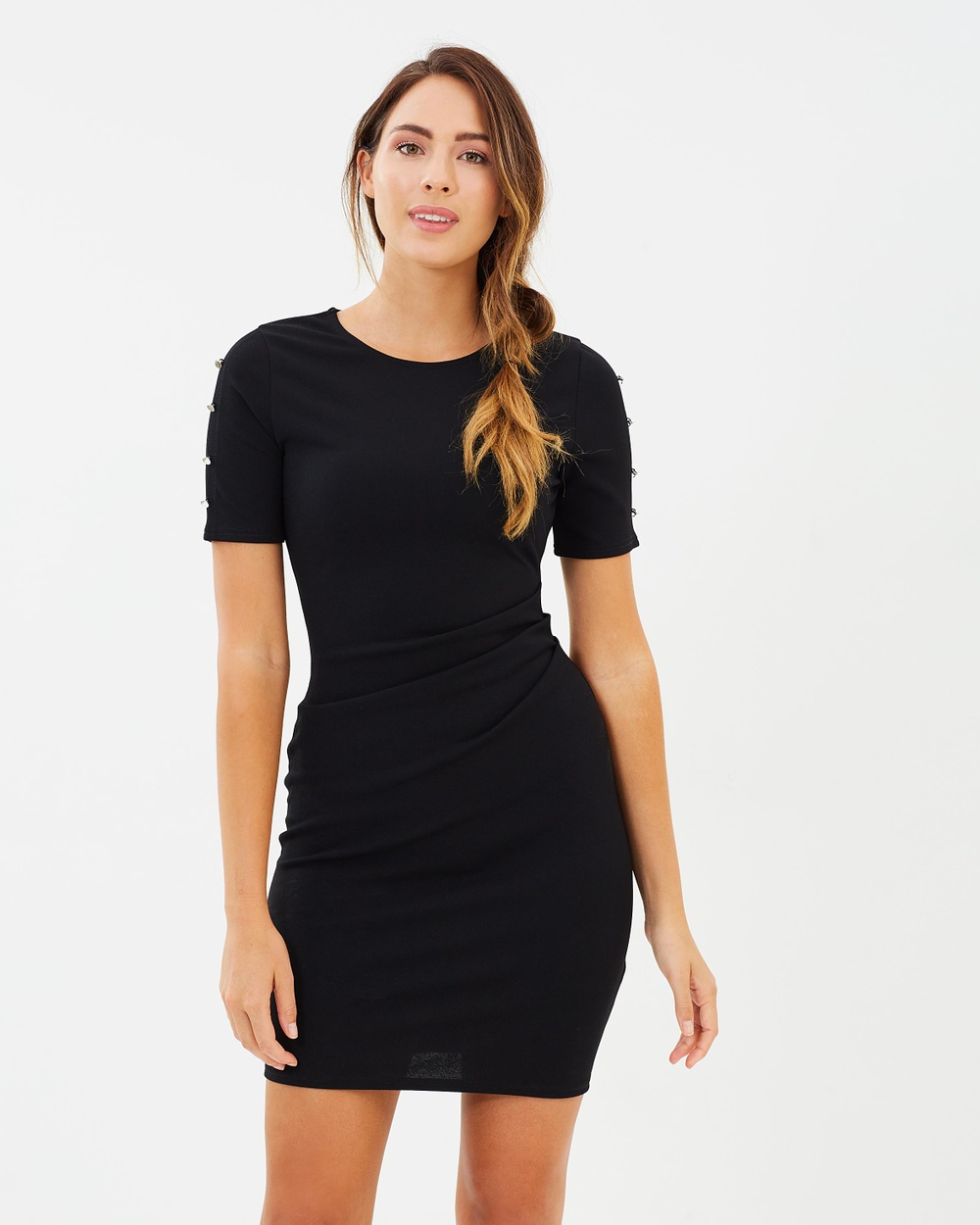 Dorothy Perkins Studded Sleeve Crepe Body Con Dress Bodycon Dresses Black Studded Sleeve Crepe Body-Con Dress