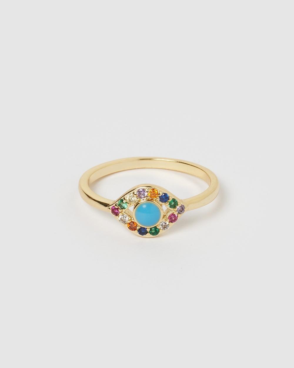 Izoa Jordana Eye Ring Gold Jewellery Gold