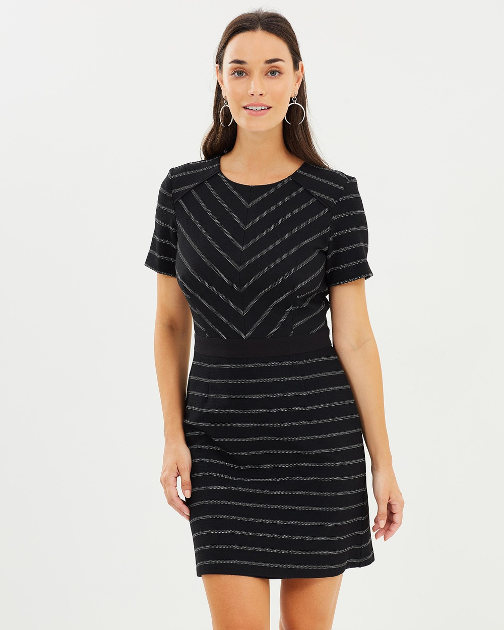Oasis Cutabout Stripe Dress Printed Dresses Multi Black Cutabout Stripe Dress