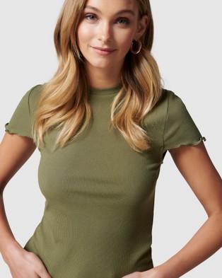 Forever New - Reba Rib cap sleeve tee - T-Shirts & Singlets (Oregano) Reba Rib cap sleeve tee