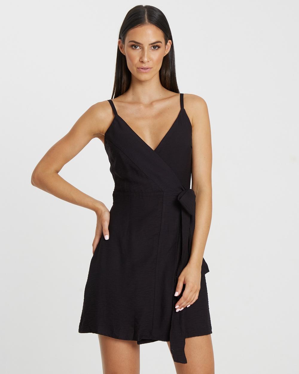 Buy Tussah Black Romana Wrap Dress -  shop Tussah dresses online