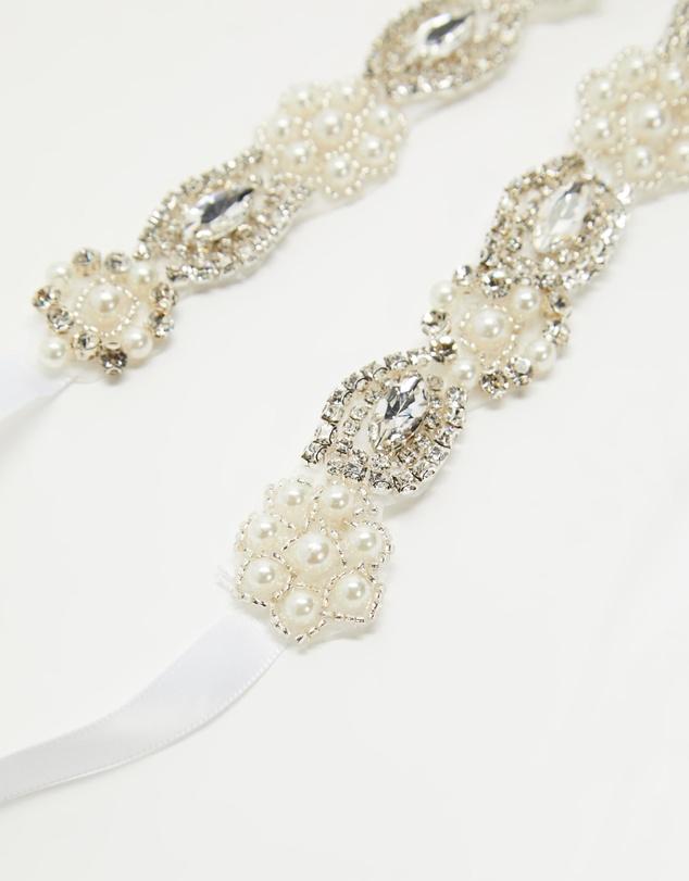 Women Diamante Pearl Embellished Satin Ribbon Bridal Belt