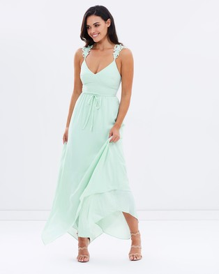 Lost Ink – The Wardrobe Cori Strappy Lace Applique Dress – Bridesmaid Dresses (Mint)