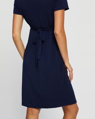 Angel Maternity Maternity Crossover Neckline Tie Back Jersey Work Dress - Dresses (Navy)