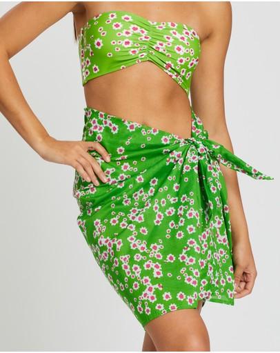 Faithfull The Brand Mini Pareo Sarong Le Bon Floral Print Apple Green