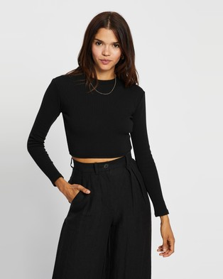 AERE - Organic Cotton Tie Back Top Cropped tops (Black)