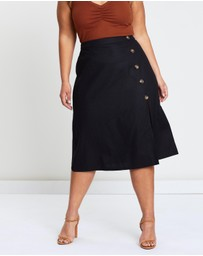 Atmos&Here Curvy - Lucia Linen Blend Button Skirt