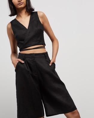 AERE Linen Bermuda Shorts High-Waisted Black