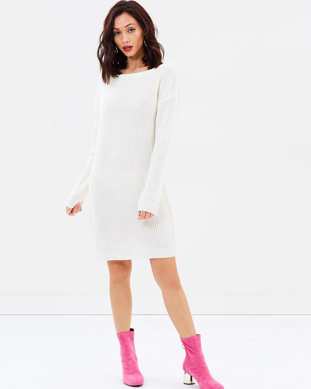 Missguided Off Shoulder Jumper Dress Dresses Cream Off Shoulder Jumper Dress