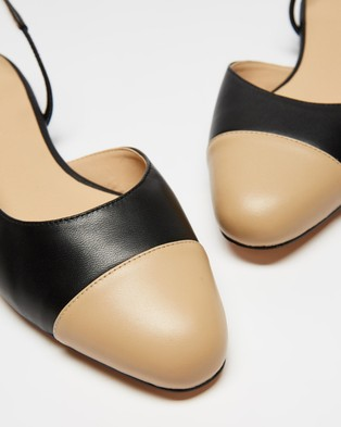 Atmos&Here Monaco Leather Flats - Ballet Flats (Black & Beige Leather)