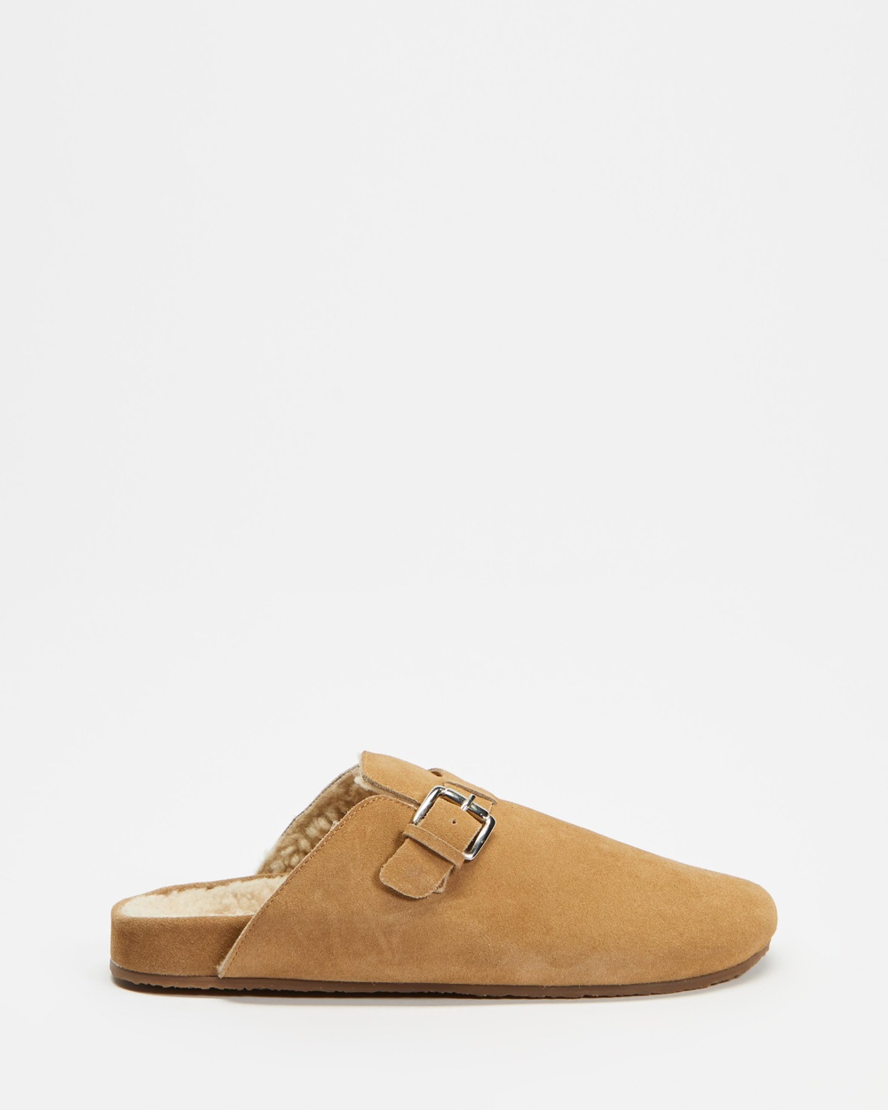 AERE Buckled Suede Clog Mules Clogs Sand Suede