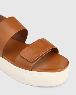 Wittner Jolly Leather Slingback Flatform Sandals - Wedges (Tan)