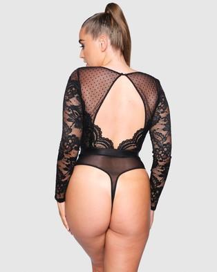Ann Summers The Firecracker Spot & Lace Bodysuit - Lingerie (Black)