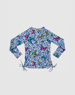 Aqua Blu Kids Mariposa Long Sleeve Rash Vest   Kids - Swimwear (Mariposa)